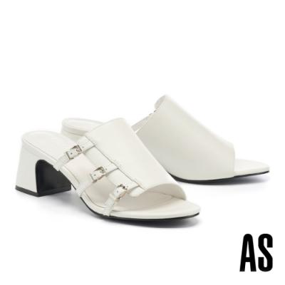 拖鞋 AS 簡約風個性異材質拼接側空帶釦全真皮高跟拖鞋-白