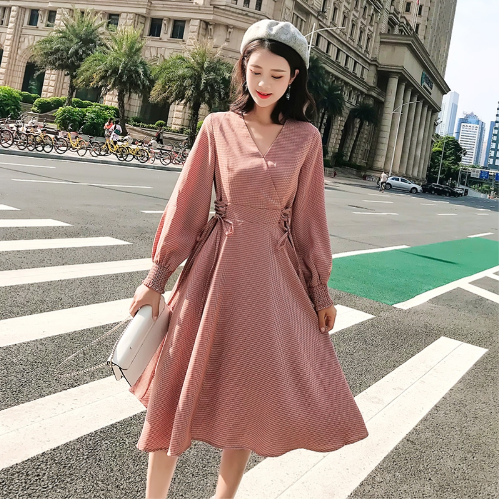 DABI 韓國風氣質千鳥格收腰裙長袖洋裝