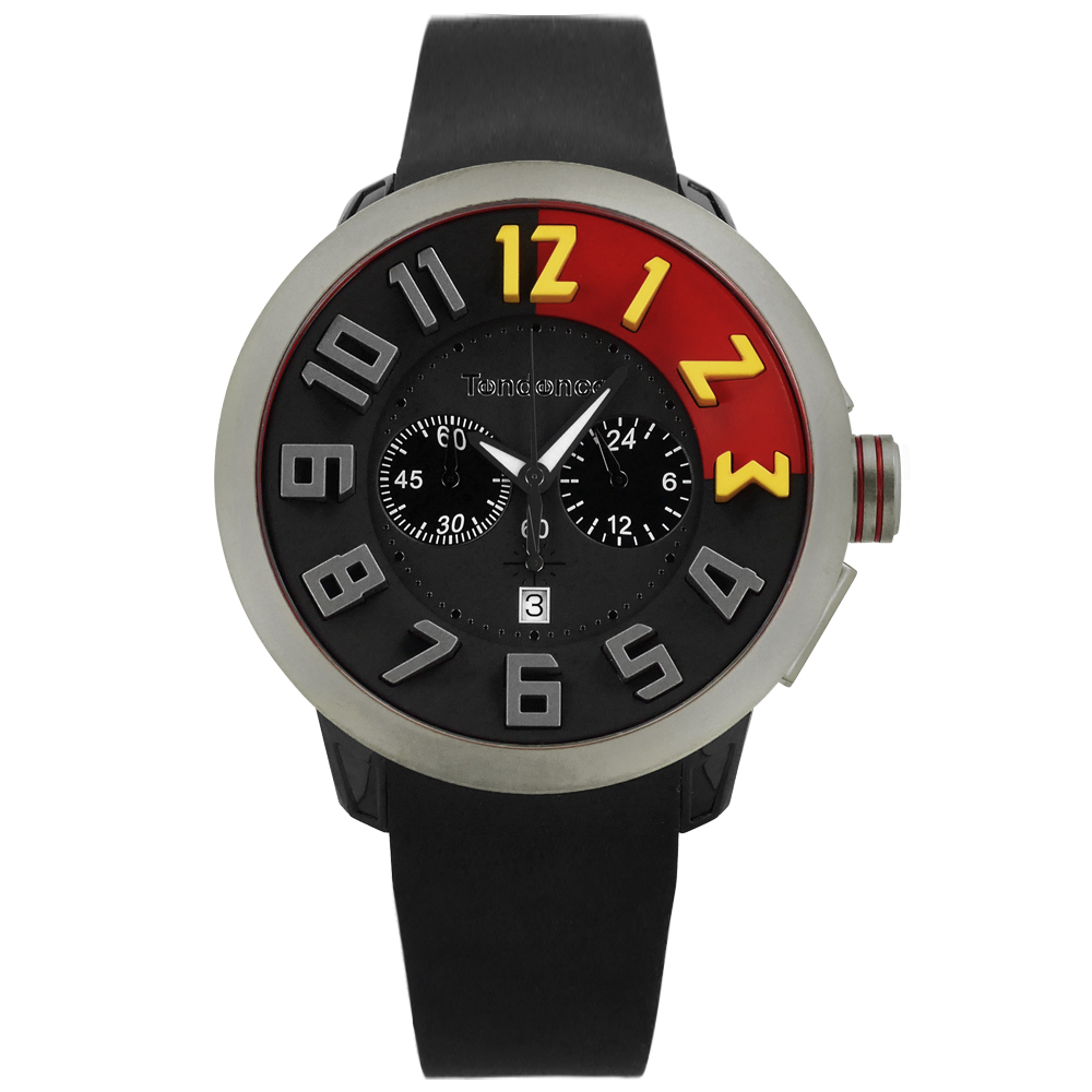 Tendence 天勢表 中國紅限量版三眼計時防水矽膠手錶-黑色/51mm