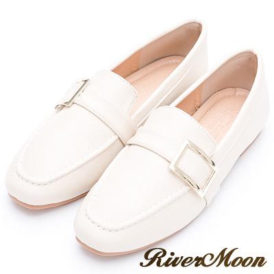 River&Moon質感方金釦平底樂福紳士鞋-米白