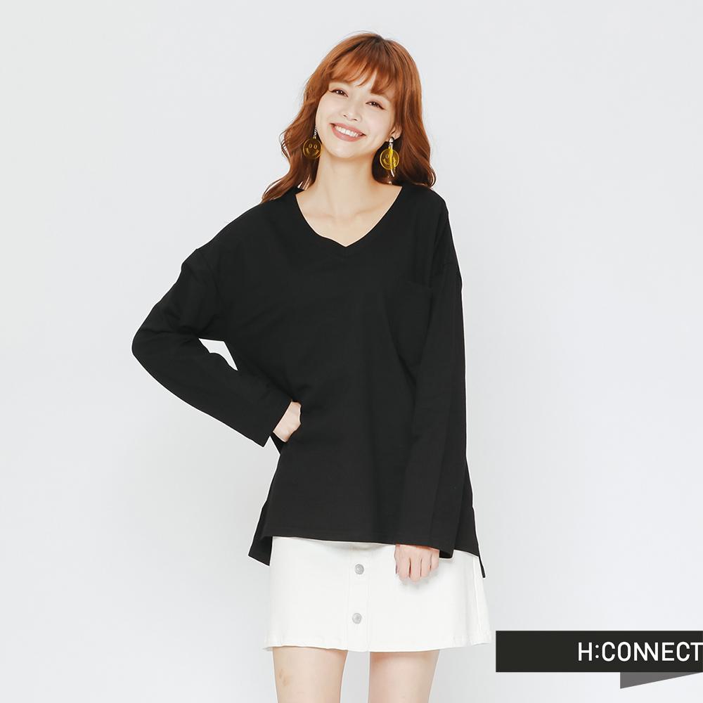 H:CONNECT 韓國品牌 女裝-小V領舒適棉質上衣-黑