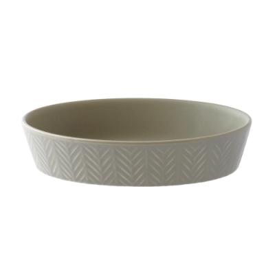日本 MEISTER HAND 人字橢圓形烤盤M- 暖灰色