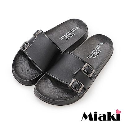 Miaki-拖鞋百搭雙扣平底涼拖鞋-黑
