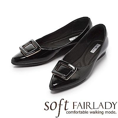 Fair Lady Soft芯太軟 質感框飾亮皮尖頭低跟鞋 黑
