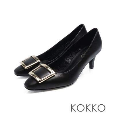 KOKKO - 重溫初心大方扣真皮方頭高跟鞋-墨黑