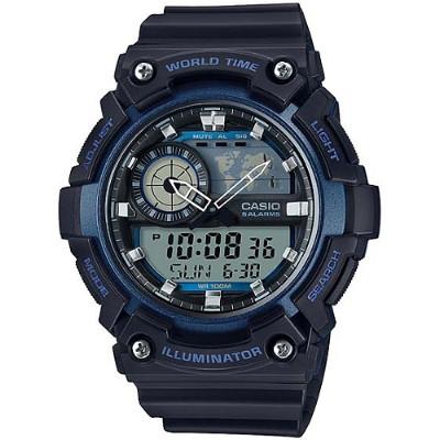CASIO 世界地圖雙顯多功能腕錶-藍(AEQ-200W-2A)/51.4mm