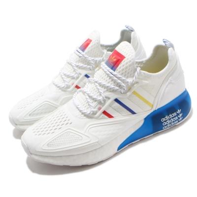 adidas 休閒鞋 ZX 2K Boost 襪套式 男鞋 愛迪達 三葉草 緩震 透氣 球鞋穿搭 白 藍 彩 FY1375