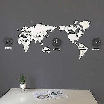 CityShop 北歐簡約創意地圖實木掛鐘-三鐘款