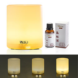 Warm燈控/定時超音波負離子水氧機W-150Y暖黃燈+澳洲單方純精油30mlx1瓶