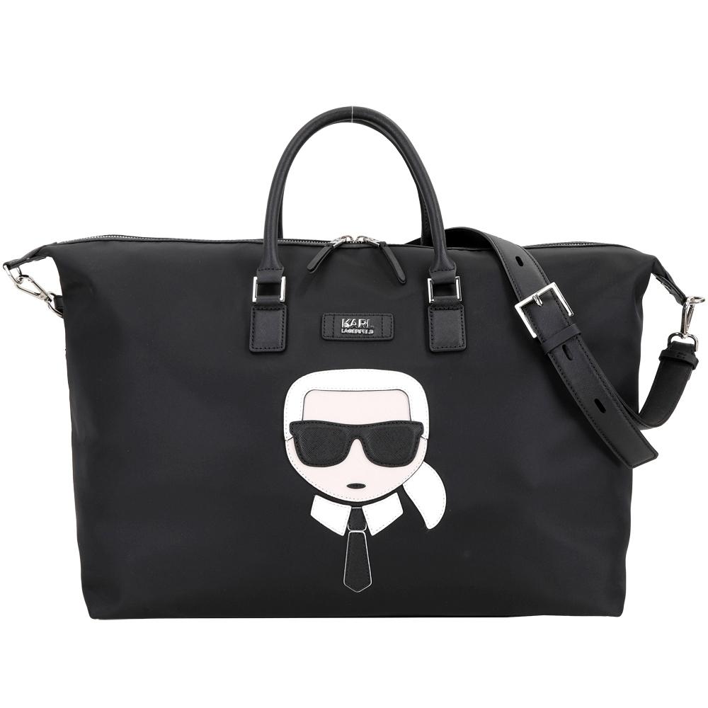 KARL LAGERFELD K/Ikonik 老佛爺尼龍兩用旅行袋(黑色)