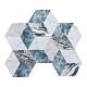 樂嫚妮 六角石紋牆壁貼紙-藍紋立體方塊-20X23cmX10片-防水即撕即貼 product thumbnail 1