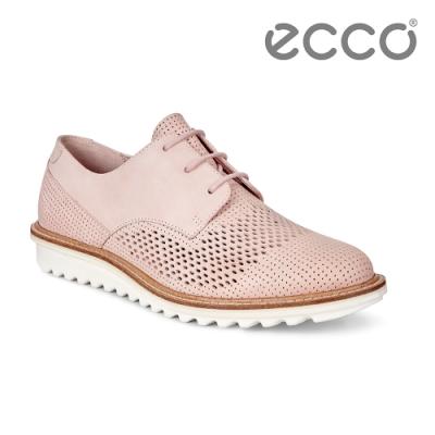 ECCO TOUCH FLATFORM 英倫鏤空休閒鞋 女-粉