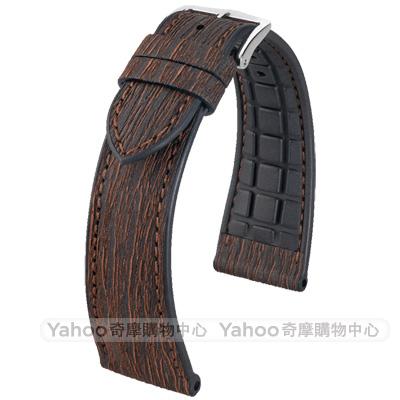海奕施HIRSCH Bark L 300米防水 樹皮纖維 天然橡膠錶帶