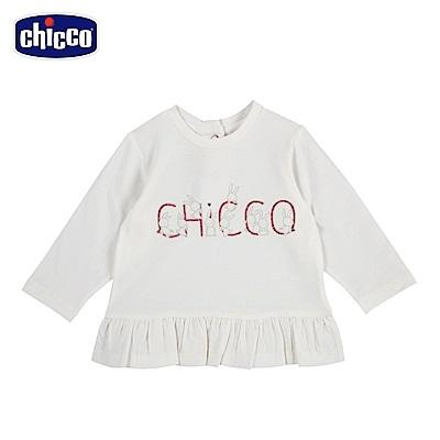 chicco-可愛動物系列-荷葉下襬長袖上衣-米(12-24個月)