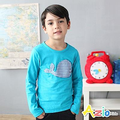 Azio Kids 上衣 條紋鯨魚拼布壓縫長袖圓領T恤(藍)