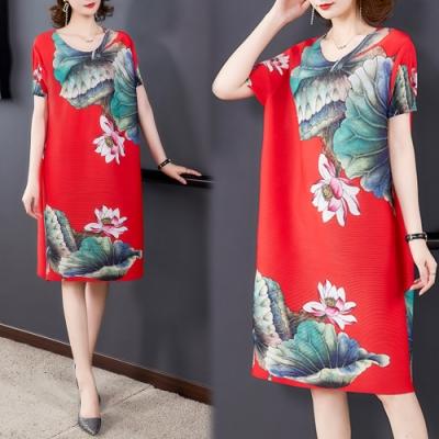 【KEITH-WILL】(預購) 時尚寬鬆印花三宅壓摺洋裝