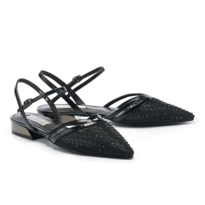低跟鞋 AS 迷幻歌德晶鑽鏤空繫帶尖頭低跟鞋-黑
