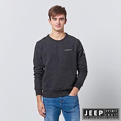 JEEP 斑駁刷色刷毛口袋長袖TEE-黑