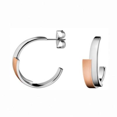 CALVIN KLEIN Intense 系列優雅雙弧玫瑰金耳環