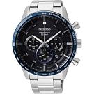SEIKO精工 CS 型男時尚計時手錶(SSB357P1)-黑x藍錶圈/45.2mm