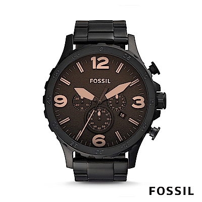 FOSSIL NATE 不鏽鋼計時男錶-咖啡色 約50mm JR1356