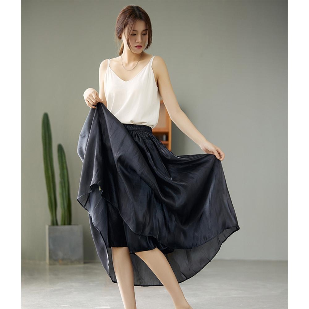 真絲緞麵氣質高腰A字百褶裙五色可選-設計所在
