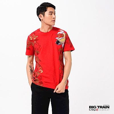 BIG TRAIN 加大躍浪鯉魚圓領短袖T-男-紅色