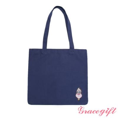 Disney collection by grace gift-反派烏蘇拉電繡圖案帆布袋 深藍