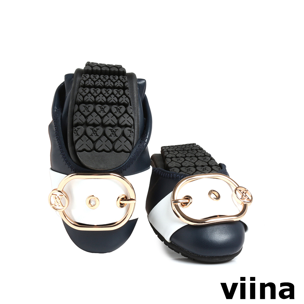 viina 皮帶釦撞色摺疊鞋MIT-深藍