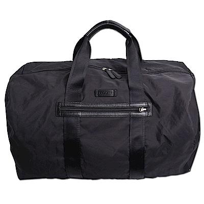 COACH 立體馬車LOGO尼龍便攜式真皮飾邊手提旅行袋行李包-經典黑
