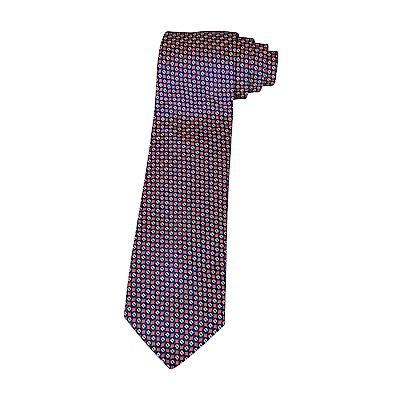 HERMES愛馬仕7 GEOMETRIK經典緹花LOGO幾何圖案設計蠶絲領帶(深藍)