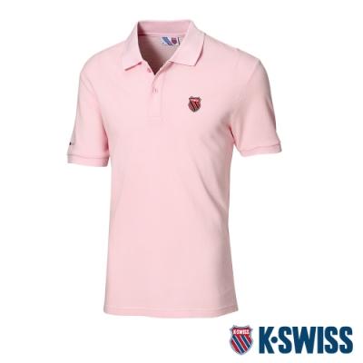 K-SWISS Heritage Logo Patch短袖POLO衫-男-粉紅