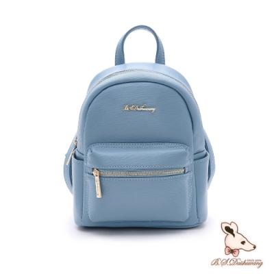 B.S.D.S冰山袋鼠-知性巴黎x迷你造型隨身通勤後背包-水漾藍