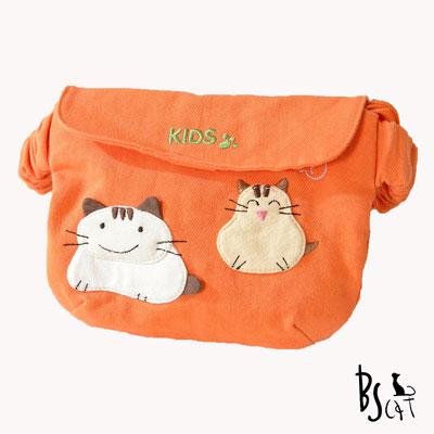 ABS貝斯貓 可愛貓咪手工拼布小朋友腰包(蜜柑橘)88-033