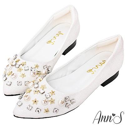 Ann'S公主的鞋櫃-星星珍珠水鑽沙發後跟尖頭平底鞋(版型偏小)