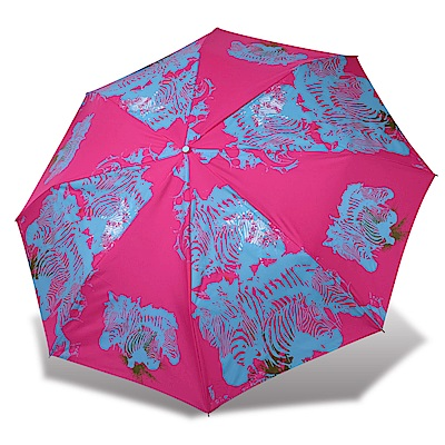 RAINSTORY 斑馬圖騰抗UV雙人自動傘(桃紅)