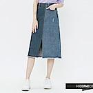 H:CONNECT 韓國品牌 女裝-不對稱刷色牛仔中長裙-藍