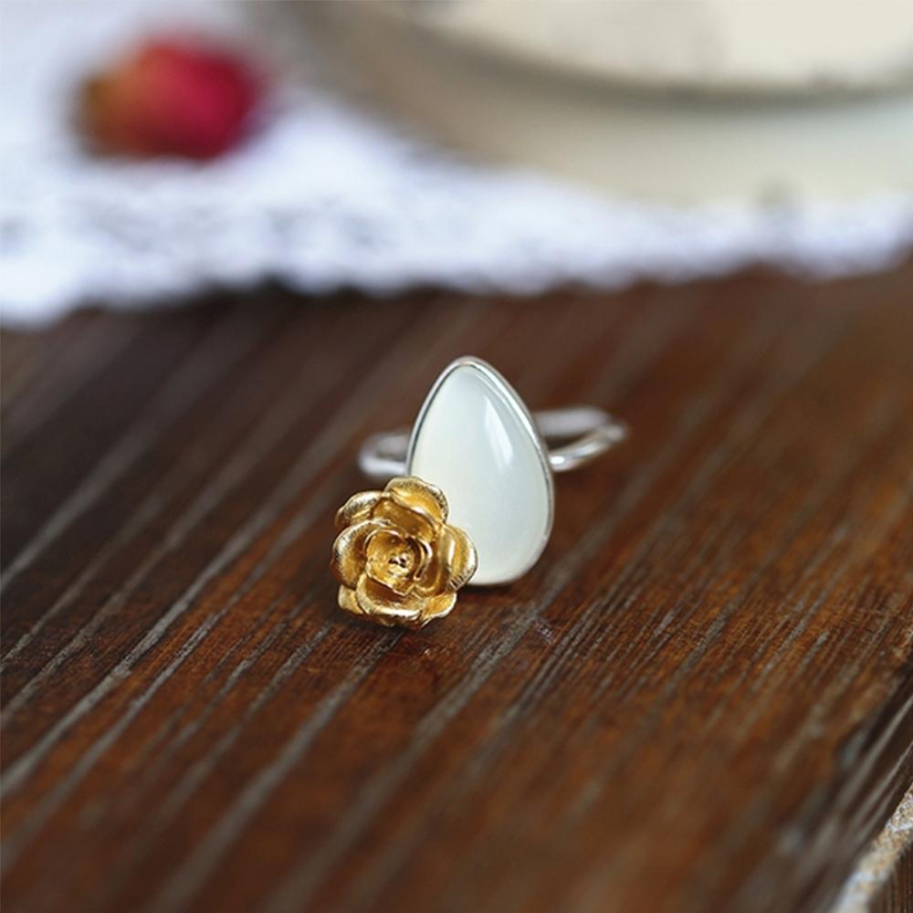 東方美學山茶花白月光藝術黑金純銀戒指-設計所在 product image 1