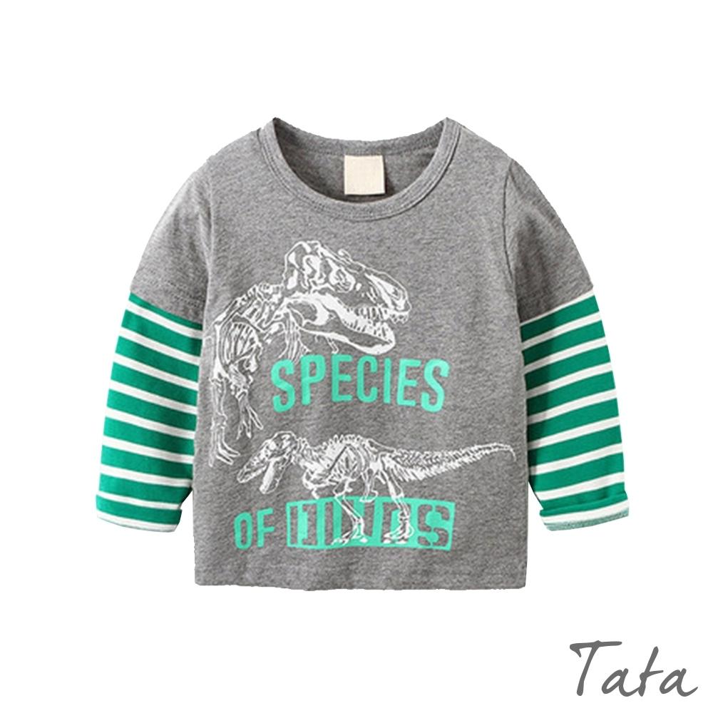 童裝 恐龍拼接條紋袖上衣 TATA KIDS (灰底綠條袖)