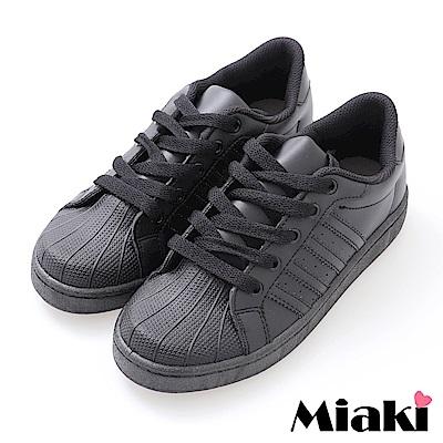 Miaki-休閒鞋.MIT經典時尚小白鞋-黑