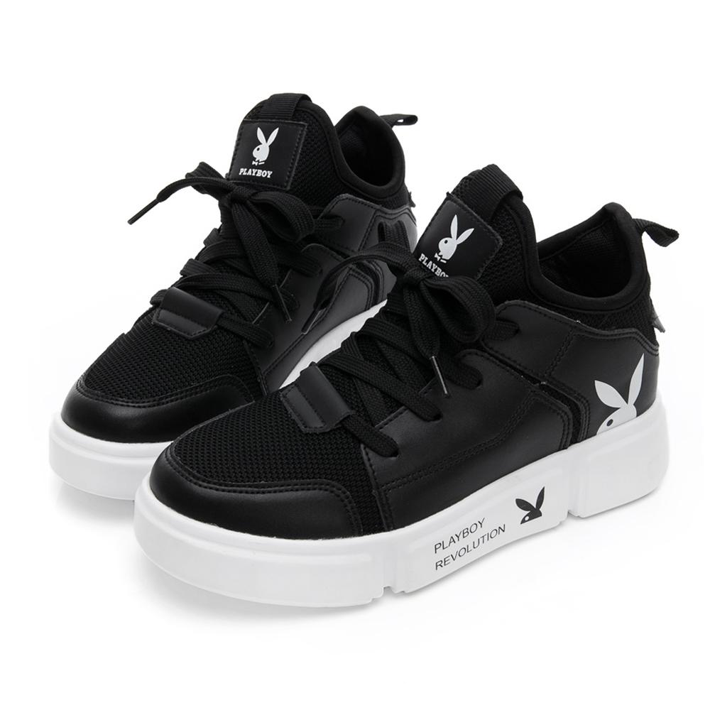 PLAYBOY 網布率性拼接休閒鞋-黑 Y5278CC