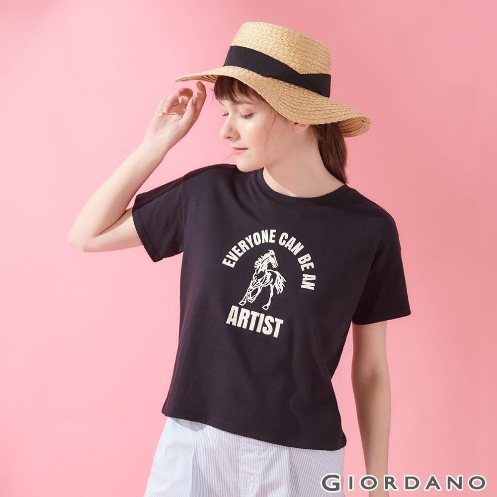 GIORDANO 女裝復古風格印花短袖寬版T恤-03 標誌黑