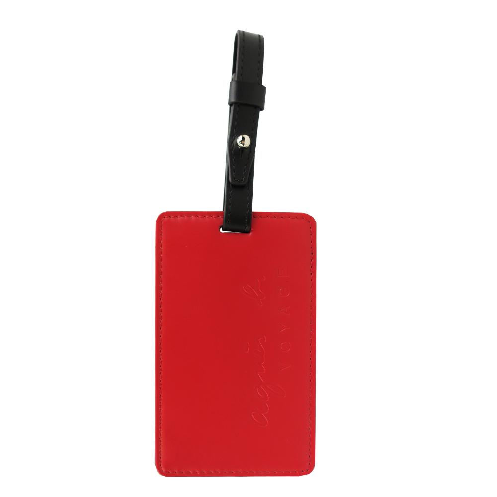 agnes b.烙印LOGO皮革行李吊牌(紅)