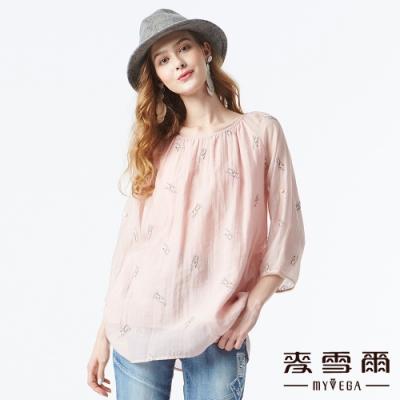 【麥雪爾】純絲棉立體花朵刺繡上衣-粉