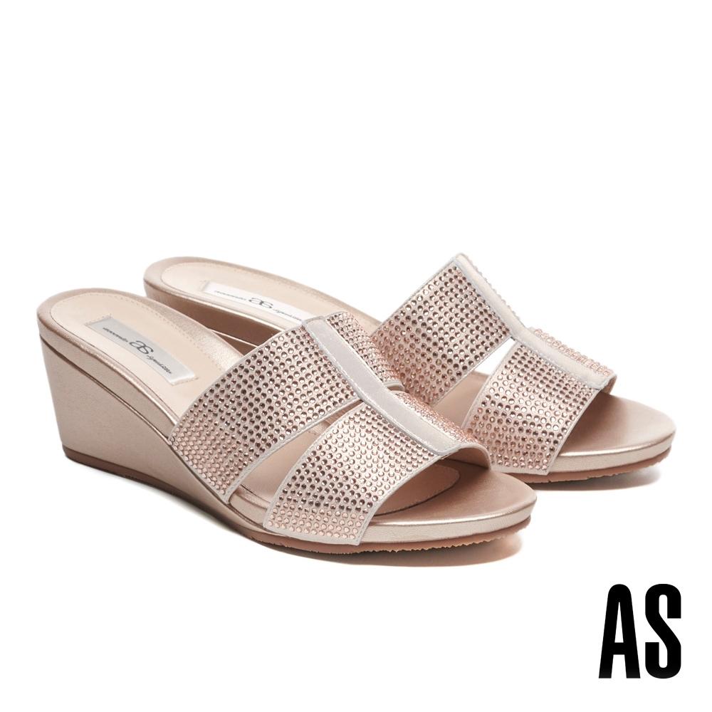 拖鞋 AS 氣質高雅水鑽楔型高跟拖鞋-粉