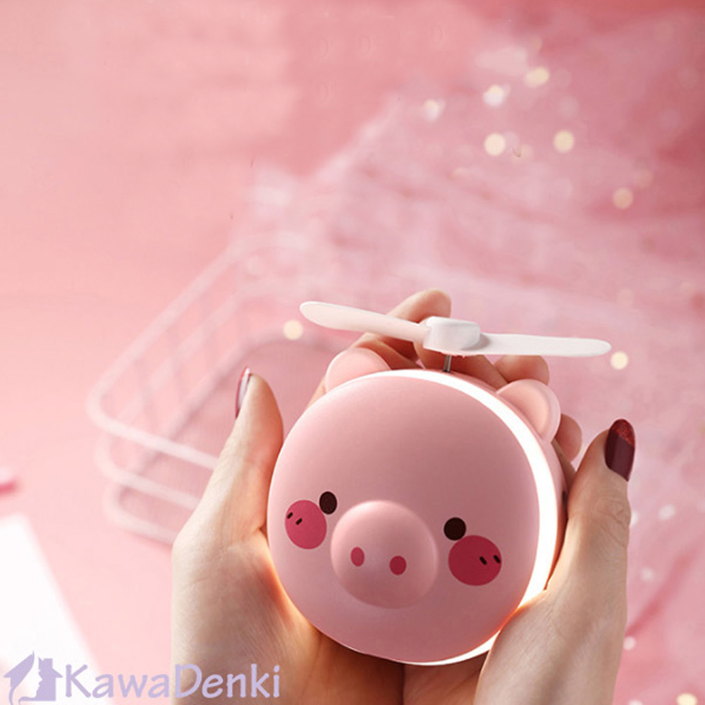 Obeauty 奧緹 LED美妝鏡風扇/時尚手持小風扇/補妝鏡(超值2入組)