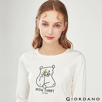 GIORDANO 女裝趣味動物印花長袖T恤-11 皎雪