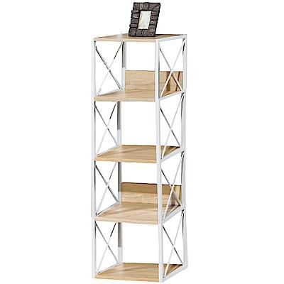 文創集 法斯時尚1.5尺開放式四格書櫃/收納櫃-44x35x144cm免組
