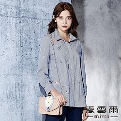 【麥雪爾】棉質幾何刺繡條紋綁帶襯衫