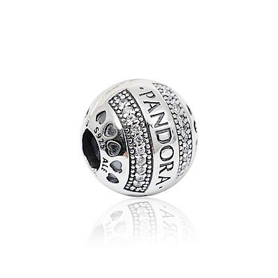 Pandora 潘朵拉 PANDORA標誌心形鑲鋯 固定夾純銀墜飾 串珠